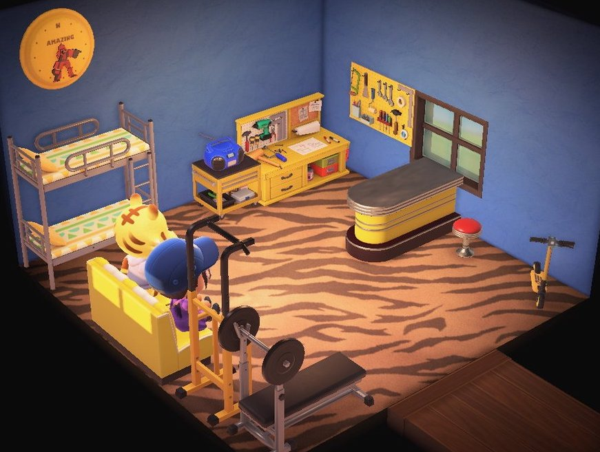 Interior of Tybalt's house in Animal Crossing: New Horizons