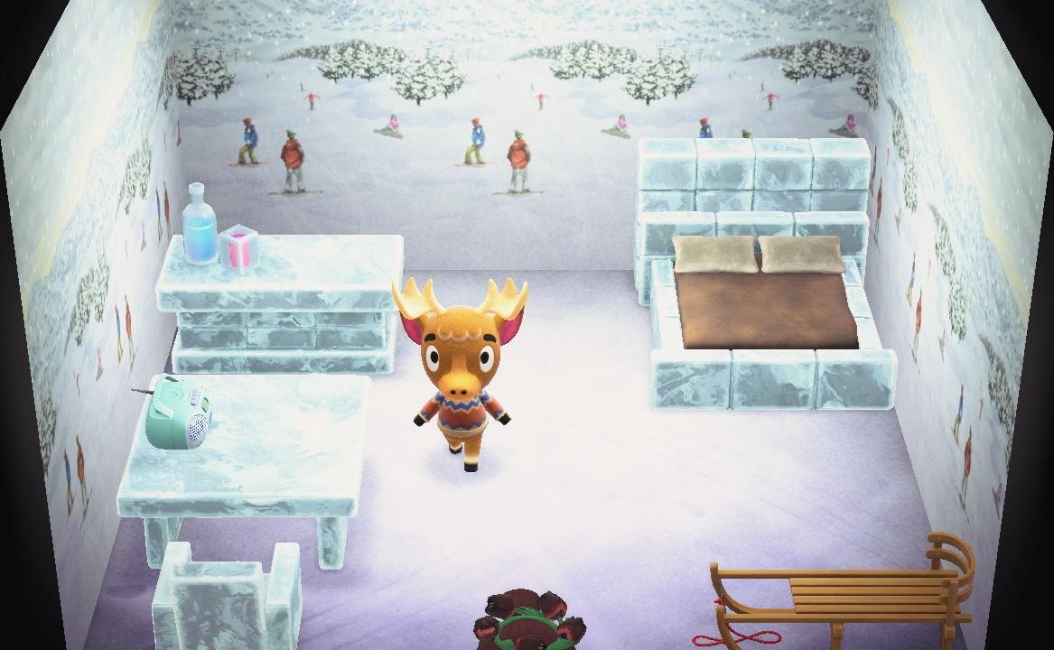 Interior of Erik's house in Animal Crossing: New Horizons
