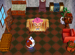 Interior of Purrl's house in Animal Crossing: Wild World