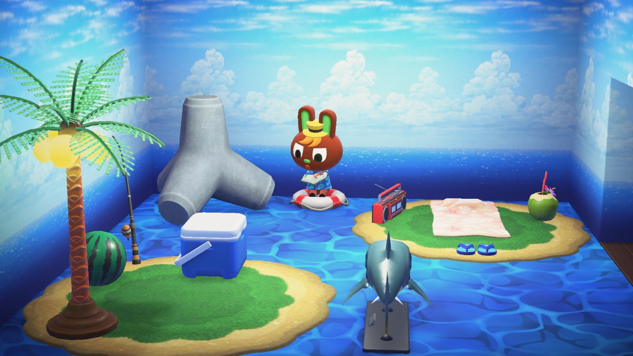 Interior of O'Hare's house in Animal Crossing: New Horizons