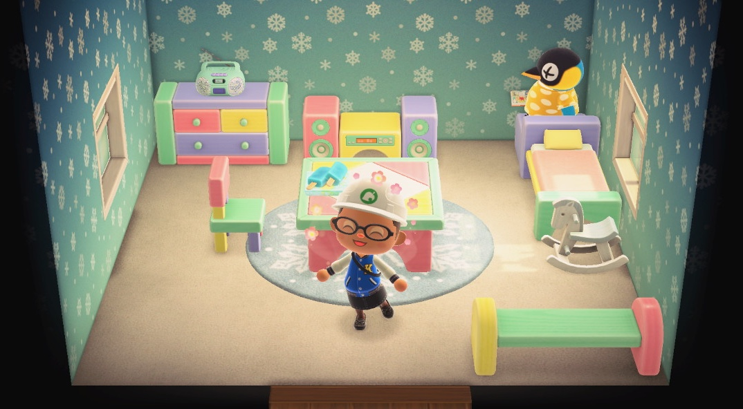Interior of Cube's house in Animal Crossing: New Horizons