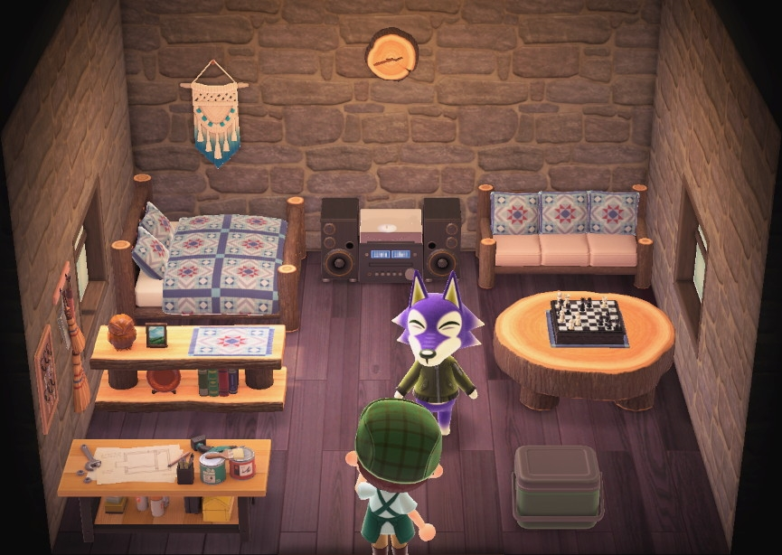 Interior of Lobo's house in Animal Crossing: New Horizons