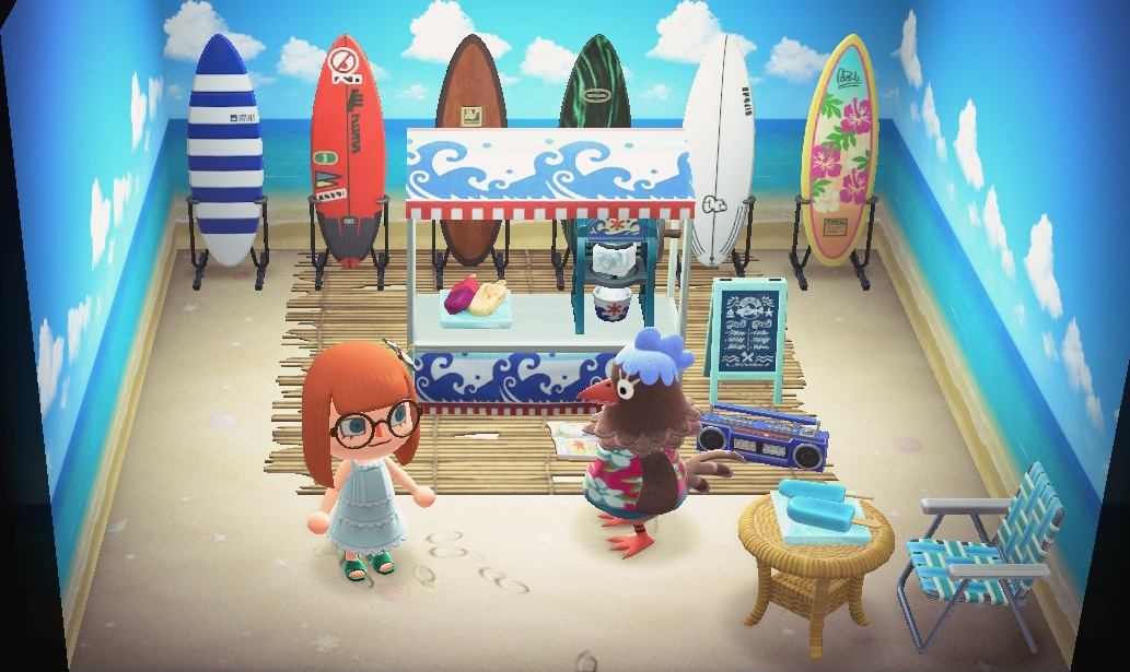 Interior of Plucky's house in Animal Crossing: New Horizons
