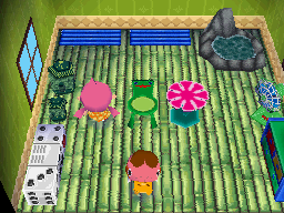 Interior of Freckles's house in Animal Crossing: Wild World