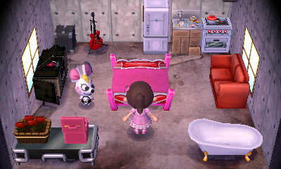 Interior of Bella's house in Animal Crossing: New Leaf