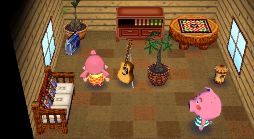 Interior of Curly's house in Animal Crossing: City Folk