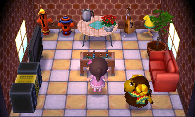 Interior of Curlos's house in Animal Crossing: New Leaf