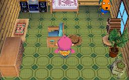 Interior of Biskit's house in Animal Crossing: Wild World