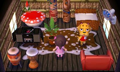 Interior of Leonardo's house in Animal Crossing: New Leaf
