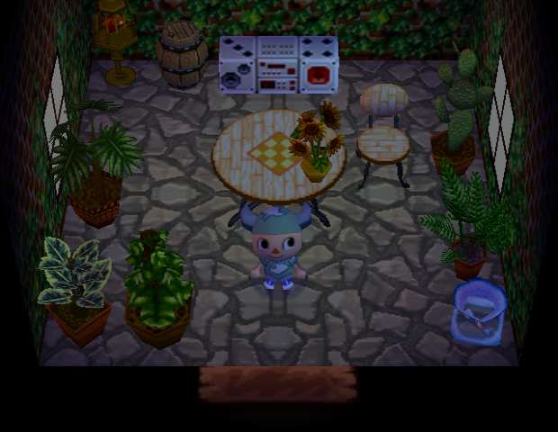 Interior of Bessie's house in Animal Crossing