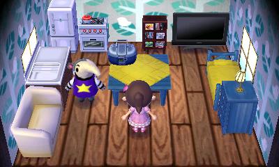 Interior of Antonio's house in Animal Crossing: New Leaf