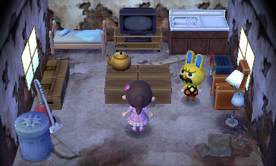 Interior of Gaston's house in Animal Crossing: New Leaf
