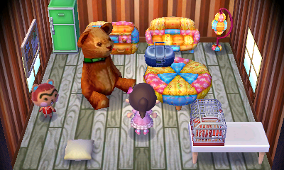 Interior of Hazel's house in Animal Crossing: New Leaf