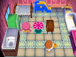 Interior of Pompom's house in Animal Crossing: Wild World