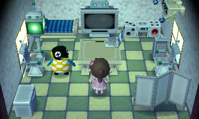 Interior of Cube's house in Animal Crossing: New Leaf