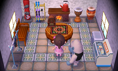 Interior of Hans's house in Animal Crossing: New Leaf