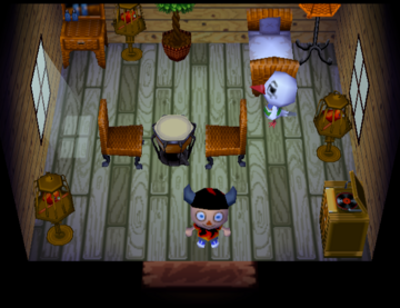 Interior of Piper's house in Animal Crossing