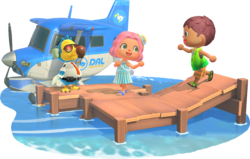 Artwork from New Horizons of Wilbur and two players on a dock with a DAL plane.