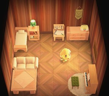 Interior of Goldie's house in Animal Crossing: New Horizons