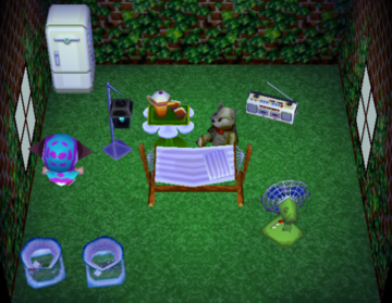 Interior of Nate's house in Animal Crossing
