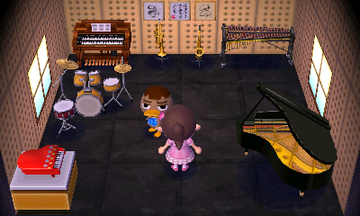 Interior of Weber's house in Animal Crossing: New Leaf