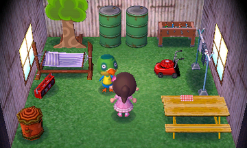 Interior of Jitters's house in Animal Crossing: New Leaf