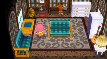 Interior of Elmer's house in Animal Crossing: City Folk