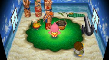 Interior of Boomer's house in Animal Crossing: City Folk