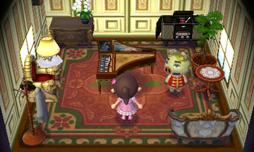 Interior of Chops's house in Animal Crossing: New Leaf