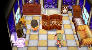Interior of Elise's house in Animal Crossing: City Folk