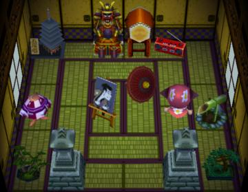 Interior of Kabuki's house in Animal Crossing
