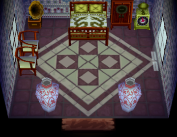 Interior of Opal's house in Animal Crossing