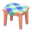 Wooden Mini Table (Pink Wood - Blue)