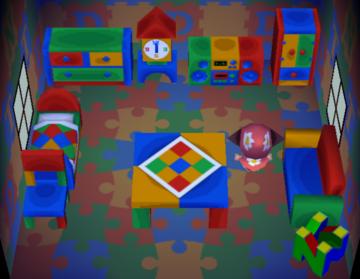 Interior of Bob's house in Animal Crossing