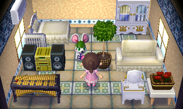 Interior of Bree's house in Animal Crossing: New Leaf