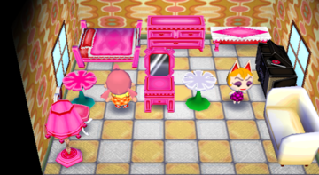 Interior of Monique's house in Animal Crossing: City Folk