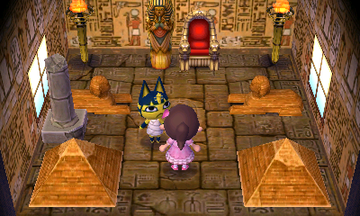 Interior of Ankha's house in Animal Crossing: New Leaf