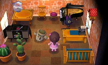 Interior of Kiki's house in Animal Crossing: New Leaf