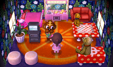 Interior of Bangle's house in Animal Crossing: New Leaf