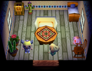 Interior of Goldie's house in Animal Crossing