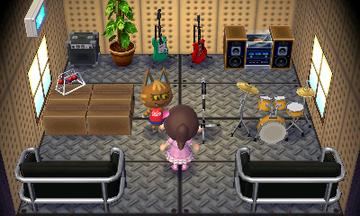 Interior of Katt's house in Animal Crossing: New Leaf