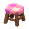 Wooden Stool (Dark Wood - Pink) NH Icon.png