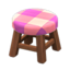 Wooden Stool (Dark Wood - Pink)