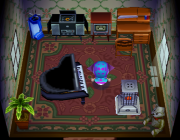 Interior of Teddy's house in Animal Crossing