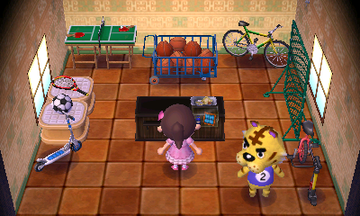 Interior of Tybalt's house in Animal Crossing: New Leaf