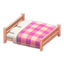 Wooden Double Bed (Pink Wood - Pink)