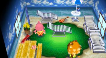 Interior of Bud's house in Animal Crossing: City Folk