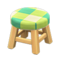 Wooden Stool (Light Wood - Green) NH Icon.png