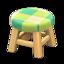 Wooden Stool (Light Wood - Green)
