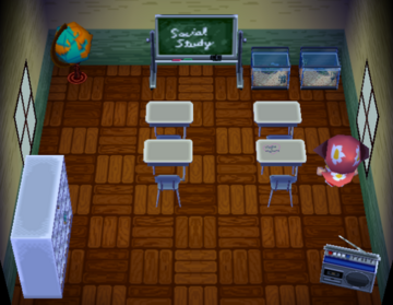 Interior of Doc's house in Animal Crossing